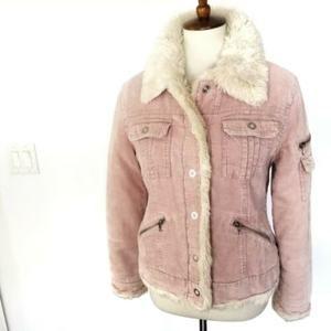 JLO Jennifer Lopez Pink Corduroy Sherpa Jacket M